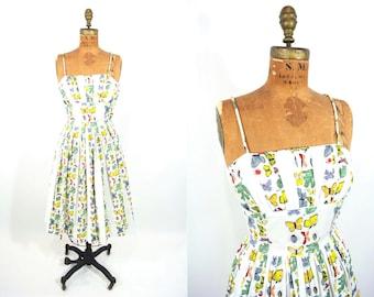 """1950s dress vintage 50s butterfly insect novelty print shelf bust cotton dress XS W 24"""""""