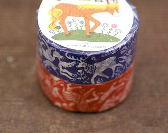 Mihani Kobo x Classiky Washi Masking Tape - Friends - Set of 2 in Dark Orange & Cobalt Blue
