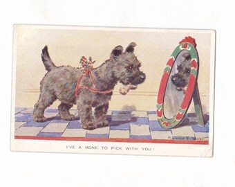 Cute Scottie Dog Postcard | I've A Bone To Pick With You | Florence E Valter | Vintage Illustrated Postcard 1940s