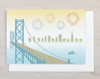 Bay Bridge Greeting Card - San Francisco, Bay Bridge, California, Fireworks, Card, Blank, Gift, Holiday