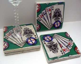 Poker Playing Cards Natural Stone Tile 4x4 Coaster Set of 4 Ace King Queen Jack Card Kitchen Living Design