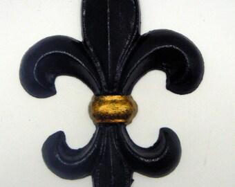Fleur de lis FDL New Orleans Cast Iron Painted Black Saints and Metallic Team Gold Wall Decor French Spirit Dorm Room Decoration