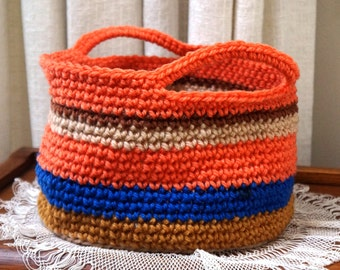 Storage Basket Storage Bin Crochet Basket Organizer Stripe Basket Handles Medium Orange Blue Brown Gold