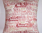 "CHRISTMAS Throw Pillow Cover, Postcards for Santa Pillow Cover, Inspirational Holiday Messages, Holiday Accent Pillow Cover, 16x16"" Square"