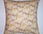 """AUTUMN Throw Pillow Cover, Halloween-Thanksgiving Pumpkin Decor, Seasonal Holiday Accent Pillow Cover, Pumpkin Toss Pillow, 16x16"""" Square"""