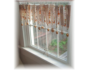 Forever Fall Stained Glass Window Treatment Valance Curtain