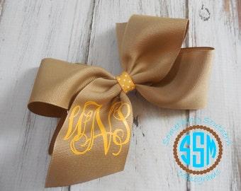 School Uniform Custom Boutique Monogrammed Three Initial Hair bow---Personalized---Khaki Uniform Bow