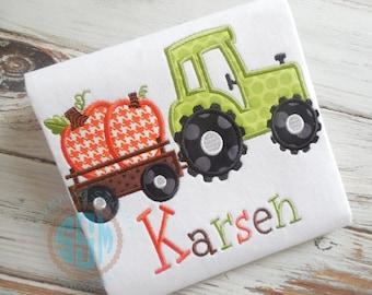 Tractor Hauling Pumpkins Applique Boy Shirt--Personalized