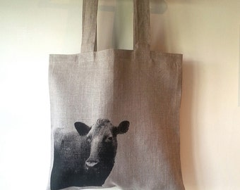 Hand printed linen tote with cow
