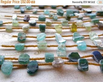 Summer Sale Antique Roman Glass Necklace - Green Glass, Aqua Glass, Extra Long Statement Necklace