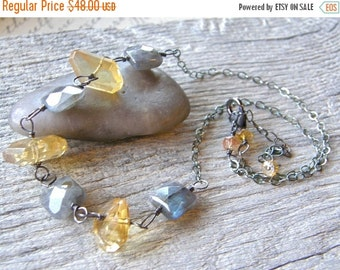 Summer Sale Yellow and Grey Necklace, Citrine Necklace, Labradorite Necklace, Citrine Nugget and Labradorite Necklace
