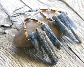 Rough Blue Kyanite Blade and Brass Chain Earrings, Rustic Denim Blue Stone Earrings