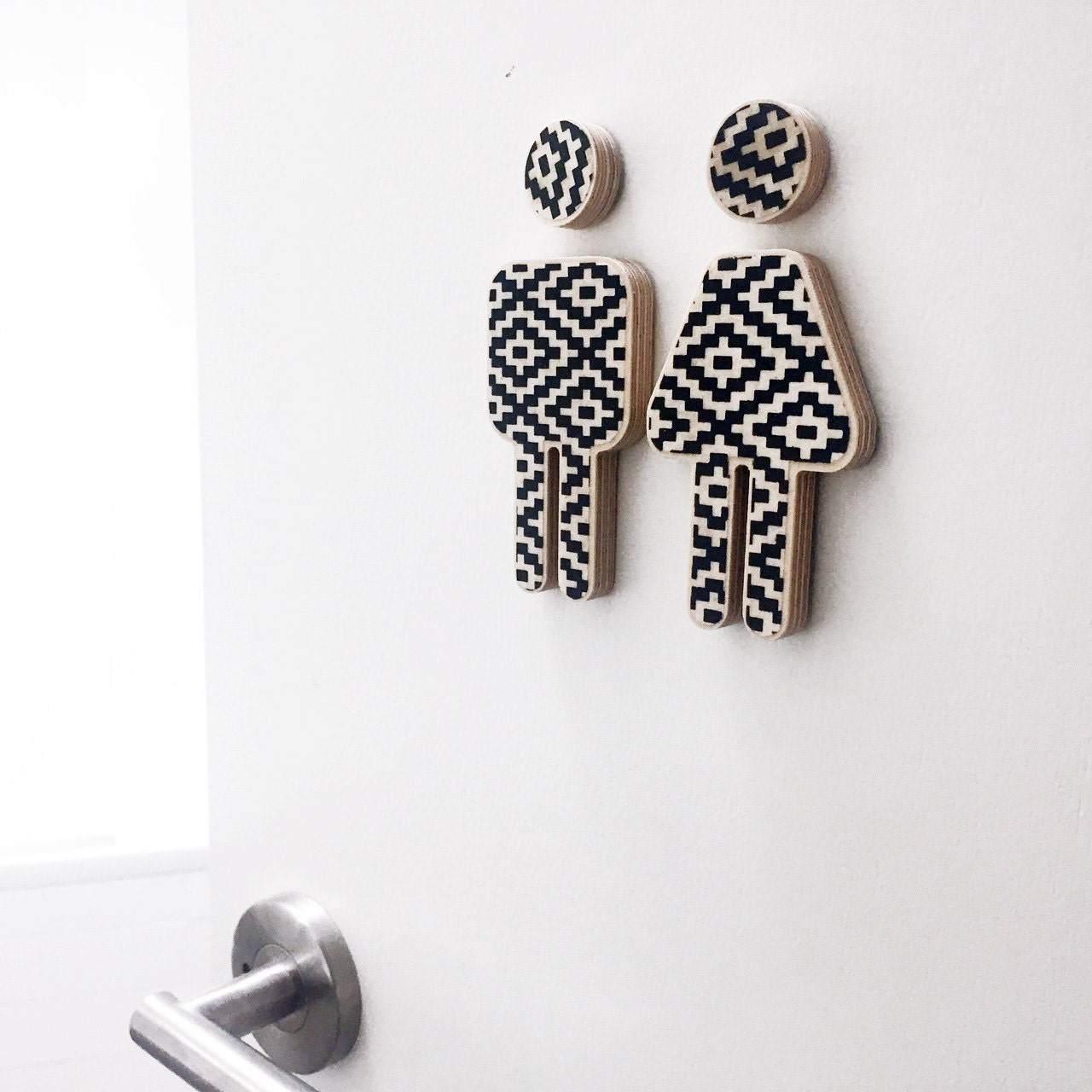 Decor bathroom sign small male female sign monochrome for Male bathroom decor