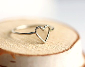 Simple Sterling Silver Heart Ring-Open heart Ring,Ajustable size Available,Dainty,Valentines,Skinny Heart Ring,Slim Ring, Minimalist Jewelry