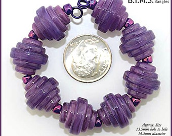 Lampwork Baroque Beads, 6 Streaky Violet Purple  Glass Square Baroque lampwork beads, Made to Order, Bims Bangles, purple lampwork beads