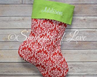 Personalized Damask Stocking - Red Damask Stocking - Embroidered Damask Christmas Stocking - Red & Green Stockings - MONOGRAMMED