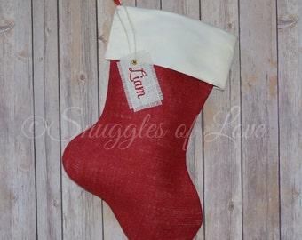 Satin Christmas Stocking - Burlap and Satin Stocking - Monogrammed Burlap Christmas Stocking - Red and Ivory Satin Stocking