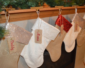 Embroidered Stocking Set - SET of 5 STOCKINGS - Personalized Burlap Christmas Stockings - Minky Velvet Stocking Set - Sequin Stocking Set