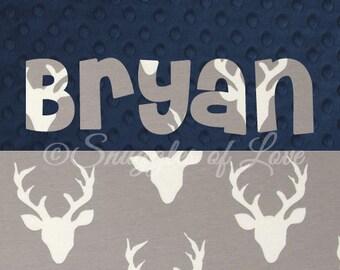 Grey Deer Blanket - Personalized Deer Blanket - Gray and Navy Deer Buck Blanket - Woodland Deer Nursery Decor - Personalized Baby Blanket