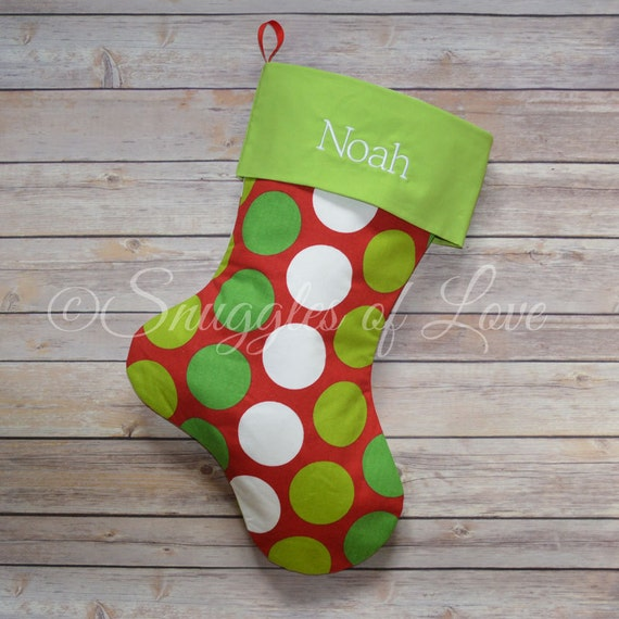 Red and Green Polka Dot Christmas Stocking - MONOGRAMMED CHRISTMAS STOCKING - Red, Green and White Dot Stocking - Design Your Own