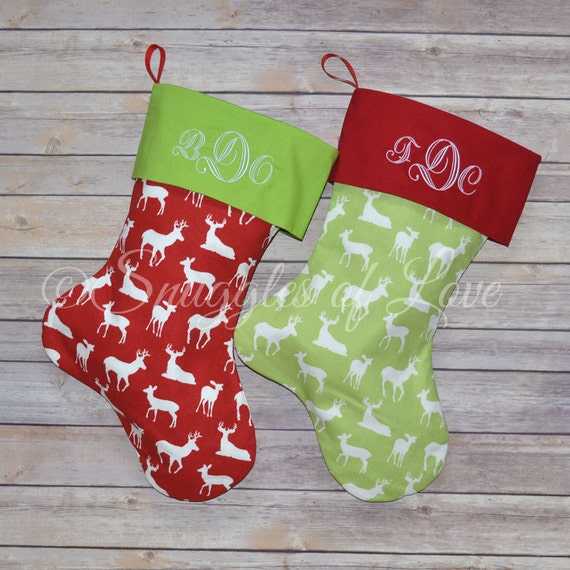 Personalized Reindeer Stockings - Red and Green Reindeer Christmas Stocking - SET OF 2 STOCKINGS - Embroidered Deer Stockings