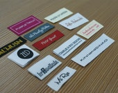 300 PCS Custom Woven labels Text Only Taffeta Clothing Labels - personalized name labels free design your tag logo high density weave fabric