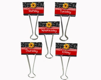 "Teacher Gift Organizer Personalized Binder Clips 2"" wide Daisy A+ Monday - Friday"
