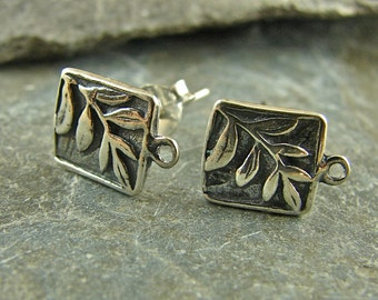 Tiny Fern Square Sterling Silver Posts - One Pair - ptfs