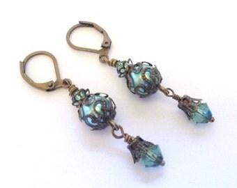 Vintage Crystal Earrings, Antique Brass Filigree Earring, Gift Shop Earring, Sage Green Pearl, Art Nouveau, Vintage Wedding, Erinite Crystal