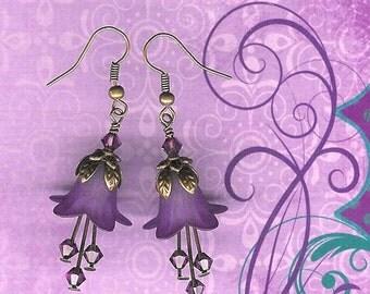Purple Lucite Flower Earrings, Crystal Swarvoski Earrings, Lily Lover, Art Nouveau, Antique Brass, Amethyst, Dark Purple Earring