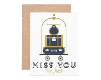 Miss You Letterpress Greeting Card