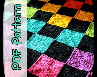 Rainbow Checkerboard Crochet Blanket - A PDF Crochet Pattern - Instant Download - Afghan Pattern - Pixel Art - Pixel Blanket - EssHaych