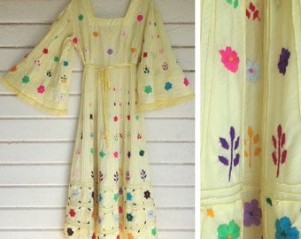 VINTAGE 70s maxi dress EMBROIDERY angel sleeve Mexican wedding