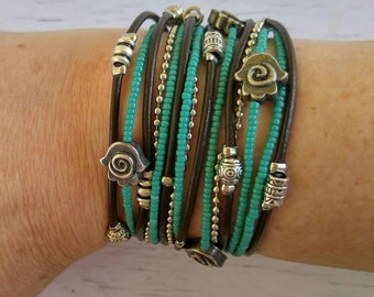 Multistrand Wrap Bracelet - Hamsa Bracelet - Protection Bracelet - Turquoise Beaded Bracelet - Wrap Bracelets for Women - Best Selling Item