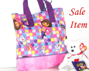 Dora the Explorer and Best Friends Child Tote / School Tote / Book Travel Bag / Overnight Bag /SALE / REDUCED