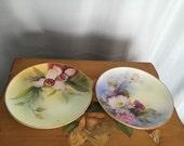 Noritake Hand Painted Plates Set if 2 Floral Vintage Peach Blue Lavender Pink Roses Green Painted Gold Rim Edge Vintage Japan Ceramic 8in