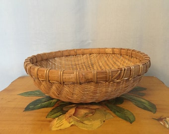 Basket Woven Round Brown Wicker Vintage