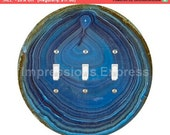 Blue Geode Stone Triple Toggle Switch Plate Cover