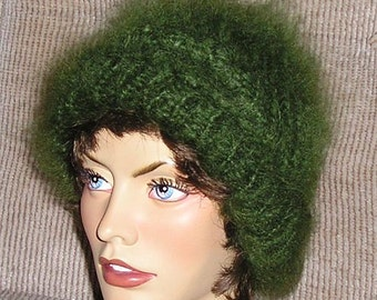 Luxury Mohair sweater * Hat Touque Beanie Cap * fuzzy hairy in Green or Gray by uniquemohair