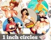Pin Up Girls Baron von Lind - 1 Inch Circles - Digital Collage Sheet - Jewelry Supply, Cabochon, Bottle Caps, Magnets - INSTANT DOWNLOAD
