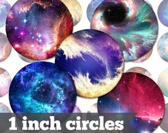 Galaxy Nebula Space - 1 Inch Circles - 9 Unique Images - Digital Collage Sheet - Jewelry Supply, Cabochon, Bottle Caps - INSTANT DOWNLOAD