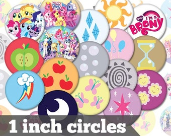 My Little Pony Cutie Marks - 1 Inch Circles - 20 Unique Images - Digital Collage Sheet - Jewelry, Cabochon, Bottle Caps - INSTANT DOWNLOAD