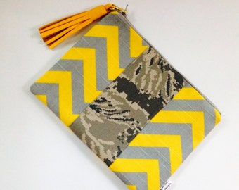 Yellow and Grey Chevron Clutch, Chevron Wristlets, Pouch, Holiday Gift Guide, Bridesmaids Gift, Cosmetic Bag, Small Pouch, Woman's Fashion