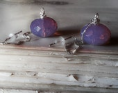 Ear threads juicy gems czech plum glass earrings sterling silver threaders