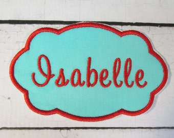 Name Tags - Iron On Embroidered Applique Name Tags  READY TO SHIP in 1-3 Business Days