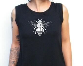 Bee Tshirt - Bee Print Tank Top - Hand  Drawn Bee Cap Sleeve Cotton Muscle Tee Alternative Apparel
