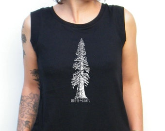 Hand Drawn Redwood Tree Cap Sleeve Cotton Muscle Tee Alternative Apparel