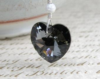Black Crystal Heart Pendant, Hematite Swarovski Necklace, Sterling Silver, Goth Valentine Gift, Sweetheart Jewelry, Handmade for Women