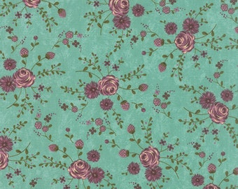 Teal Flower Prints Charming Fabric - 7/8 yd - Moda - Sandy Gervais - 17842 14