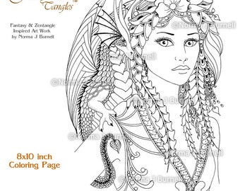 fira and drake fairy tangles 8x10 printable adult coloring book pages by norma j burnell coloring sheets fairies and dragons to color